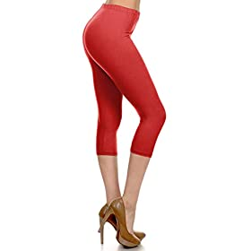 Leggings Depot High Waisted Capri Leggings Soft Slim 37 Colors