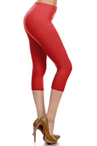 CA3X5X128-RED Capri Solid Leggings, 3X-5X