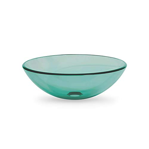 URBN.design Modern 16 Inch Diameter Round Shaped Semi-Transparent Tempered Glass, Above Counter Bathroom Vessel Sink in Teal Green Color