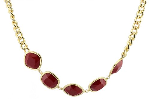FUNDAISY 5 Stones Chain Bib Statement Necklace - Wine Red- Waist Chain/Necklace