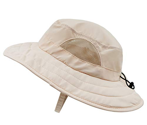 Connectyle Kids UPF 50+ Mesh Safari Sun Hat UV Sun Protection Hat Summer Daily Bucket Play Hat Khaki