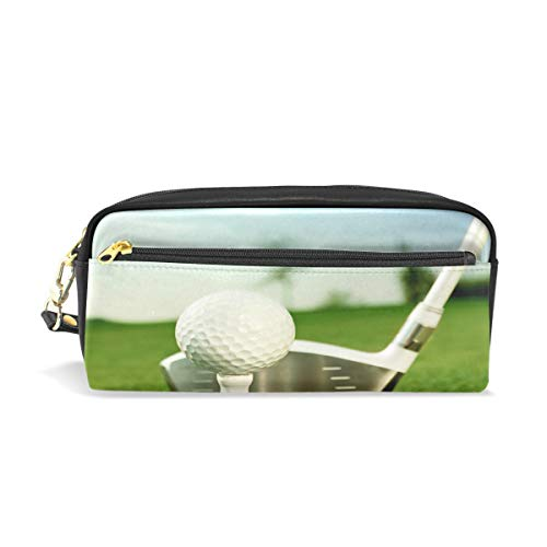 TropicalLife Sport Golf Ball Pencil Case with Zipper PU Leather Large Capacity Stationery Pouch Cosmetic Makeup Bag