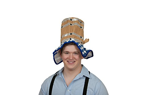 [Oktoberfest Costume Hat Beer Barrel with Chicken Dance music] (Oktoberfest Costumes Hat)