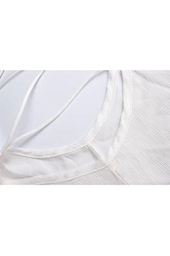 Jumojufol Si Bianco Tunica Hollow Lace Donne Sottoveste Spalline Scollato Chiffon Senza BFqaPBwr