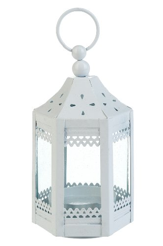 White Mini Pagoda Hurricane Lantern Tea Light Candle Holder | ChristmasTablescapeDecor.com