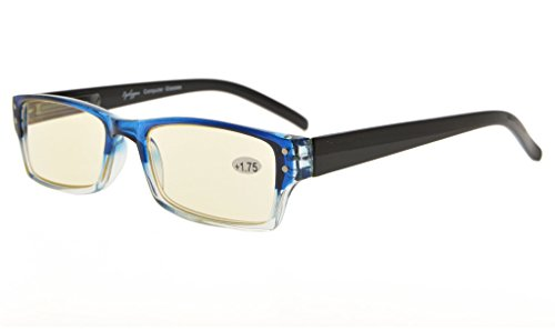 Eyekepper Spring Hinge Two-Tone Color Computer Glasses Readers Reading Glasses (Yellow Tinted Lenses, Blue-Clear) +2.0