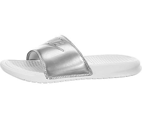 Nike Women's Benassi Just Do It Sandals, White/Wolf Grey/Metallic Silver, 7