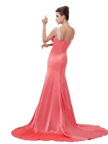 Rosa Taft aus Sexy V Abendkleider mit Perlenstickerei neck Mollig zXzqrw