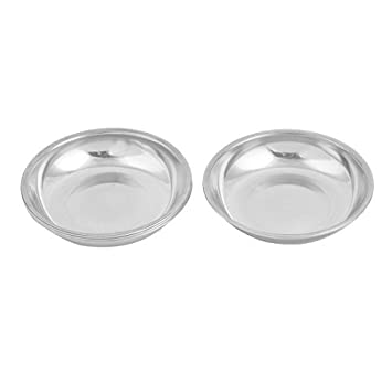 eDealMax acero inoxidable cocina casera de platos de salsa de sal Placa 10cm 4pcs Dia tono
