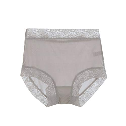 Women's 100% Silk Knitted Panties Bikinis Lace Panties Briefs one Piece(Grey_8Label 2XL)