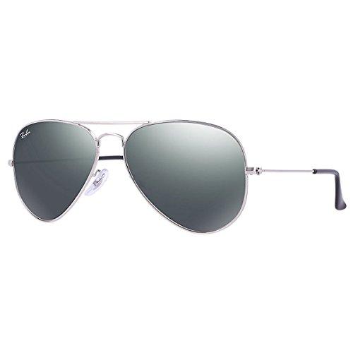 Ray-Ban 0RB3025 Aviator Metal Sunglasses, Silver Frame + Crystal Grey Mirror Lenses 58 - Ray Ban Lens Grey Aviator