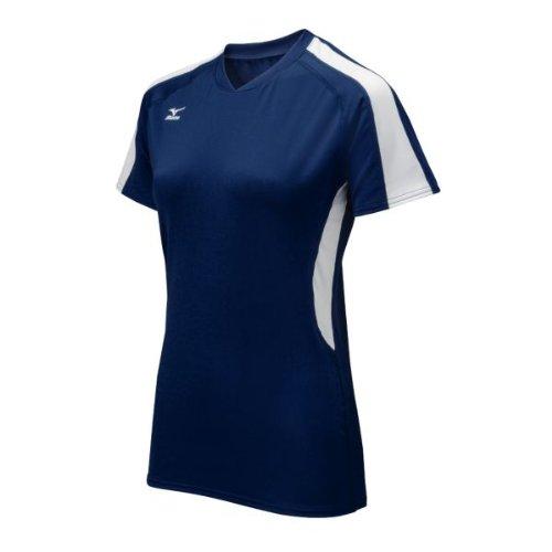 Mizuno Women's Techno Volley IV Short Sleeve Jersey, Navy/White, Small ()