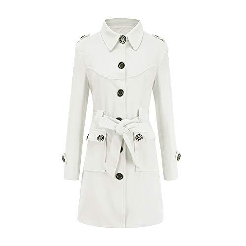 (Pervobs Women Winter Warm Woolen Coat Elegant Trench Parka Jacket Belt Button Pocket Overcoat Outwear(8, White))
