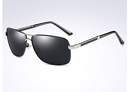 Sol black Sunglasses Hombres de silver Gafas Bastidor TL Cuadrado Gafas de Hombres gray del para Macho la Negro Aleación en Sol Gris Gafas polarizadas Plata Guía de dSwYwqtX