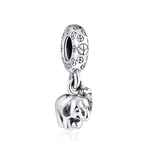 Cubic Zirconia Elephant - Angemiel 925 Sterling Silver 5A Cubic Zirconia Dangle Charms Elephant Brother Pendant Jewelry for Bracelets Necklaces Best Gift
