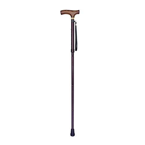 Gratia Folding Cane, Luxury Walking Stick Mobility Aid with Carrying Case - Lightweight, Adjustable, Solid Wood Handle & Leather Strap, Purple Jazz