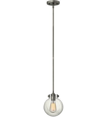 Congress Pendant (Mini Pendants 1 Light With Antique Nickel Clear Steel Drum Medium Base 7 inch 100 Watts)