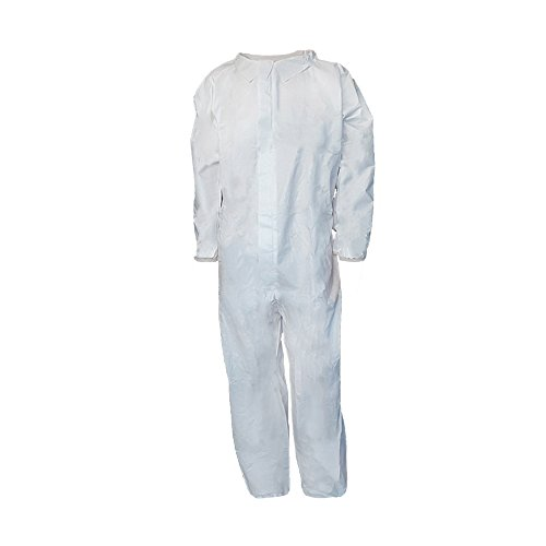(Raygard 5 Pack Microporous Disposable Coveralls Paint Suit for Men Chemical Protection Breathable Jumpsuits with Elastic Cuffs, Ankles and Waist(Large) )