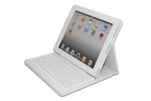 Adesso Compagno 2W, Bluetooth Keyboard with Carrying Case for iPad 2 and iPad (3rd and 4th Generation) - White