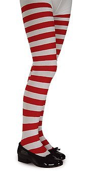 Red and White Striped Tights - Child - Large - Accessories & Makeup