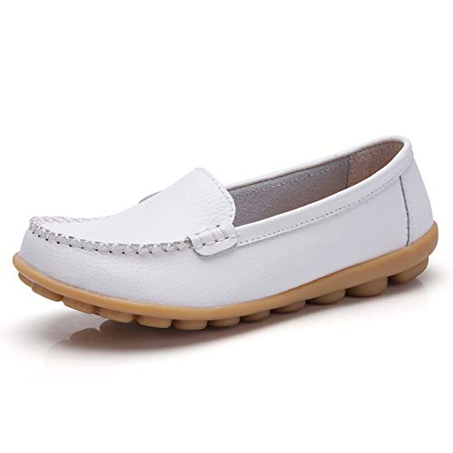 Harence Women's Soft Comfort Leather Loafers Slip On Driving Walking Flats Shoes White