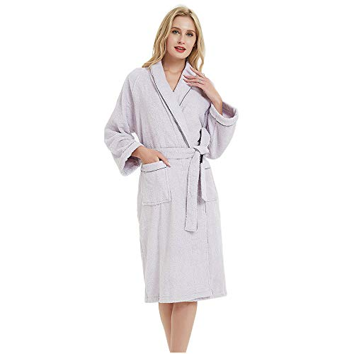 Terry Cotton Cloth Plush Kimono Bathrobe, Soft, Thick, Long Size, Bath Shower Spa Robes for Women M Light Purple