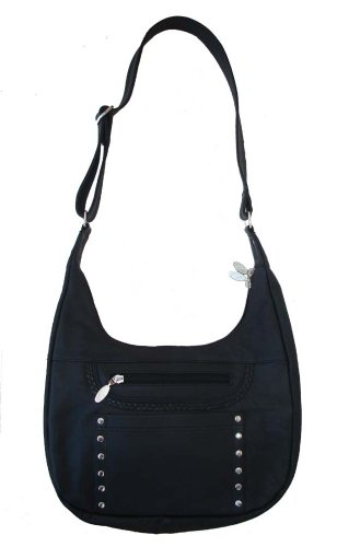 Conceal and Carry Black Leather HOBO PURSE with Braid and Silver Stud details and Locking Zipper-