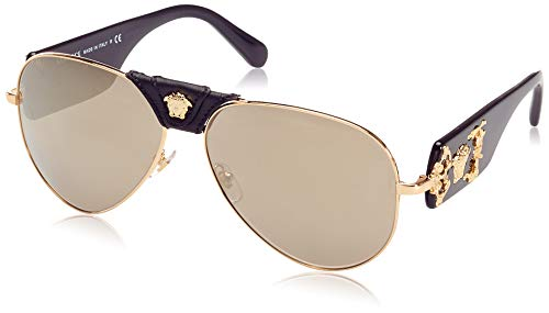 Versace Man Sunglasses, Gold Lenses Metal Frame, 62mm (Best Designer Belts 2019)