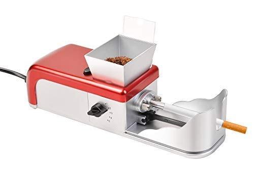 GOFLAME Electric Cigarette Rolling Machine Mini Cigarette Injector Automatic Machine Tobacco Roller Maker, Silver and Red