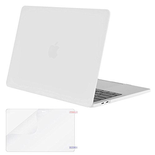 MOSISO MacBook Pro 13 Case 2018 2017 2016 Release A1989/A1706/A1708, Plastic Hard Shell Cover with Screen Protector Compatible Newest MacBook Pro 13 Inch with/Without Touch Bar, White