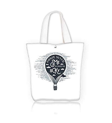 Canvas Tote Bags Hand drawn textured vintage label retro badge with hot air balloon andCome with me to touch the sky Design Your Own Party Favor Pack Tote Canvas W17.7xH14xD7 INCH