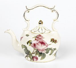 Porcelain Teapot With Delicate Rose Design For Teas And Fine