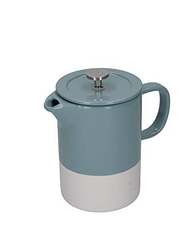 La Cafetière – Barcelona – Cafetera de cerámica, presa Francesa, cerámica, Azul retro, 8 Cup (1 Litre)
