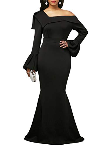 (Uhnice Women's Mermaid Evening Dress One Off Shoulder Prom Gown Party Maxi Dress (Large, Black))
