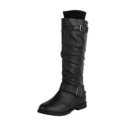 West Blvd Osakav2.0 Riding Boots, Black Pu, 11