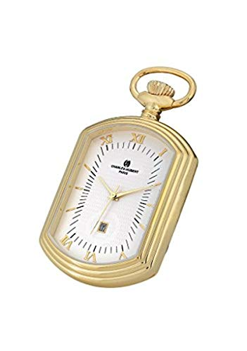 Roy Rose Jewelry Charles Hubert Rectangle Pocket Watch Classic Collection Quartz Movement with Chain
