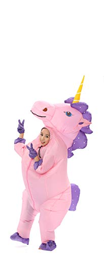 GOPRIME Sale Now !! Unicorn Costume Horn Horse Pink Unicorn Inflatable Suit (Gold -
