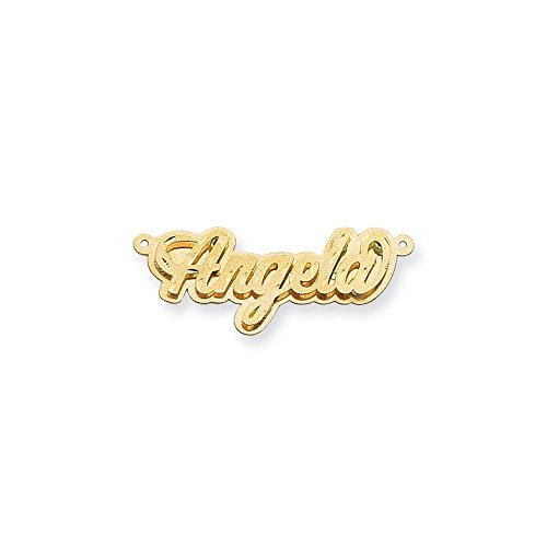 14k Yellow Gold Polished D/C 3D Name Plate. (Nameplate 3d Polished)