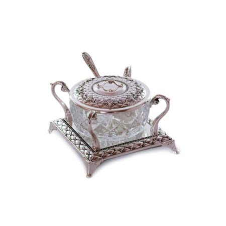 Quality Judaica Rosh Hashanah Glass Honey Dish With Silver Plated Spoon and Lid by Quality Judaica
