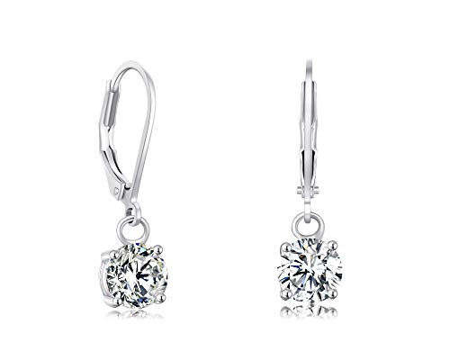 Buyless Fashion Girls And Women Dangle Earrings Silver CZ Fashion Jewelry - EDGRNDWHT