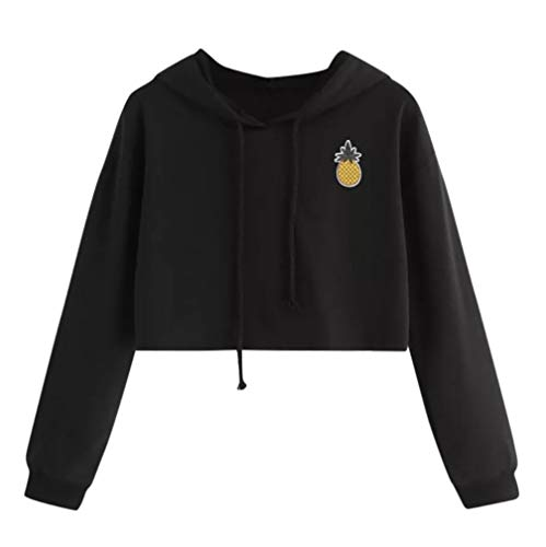 Sunhusing Ladies Fashion Pineapple Applique Short Hooded Sweater Solid Color Drawstring Pullover Black