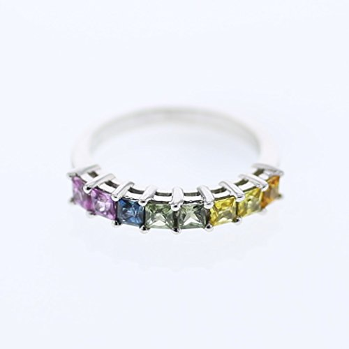 14K White Gold Multi-Color Sapphire Band Ring (1.29 ctw, Multi-Color Color, Translucent Clarity)