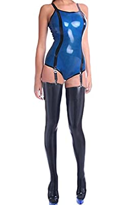 AvaCostume Womens Blue Latex Rubber Suspender Leotard with Stockings Set