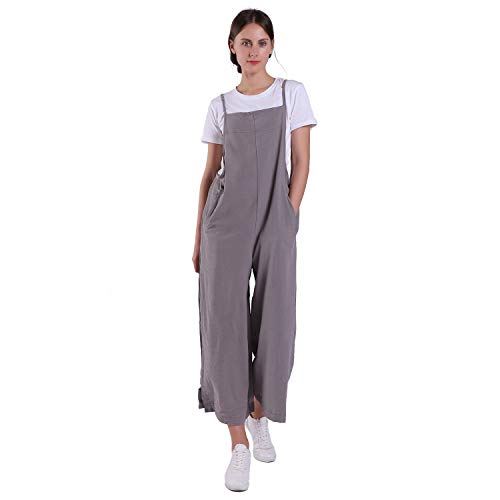 Women's Jumpsuits Casual Long Rompers Wide Leg Baggy Bibs Overalls Pants S-5XL (L, Grey)