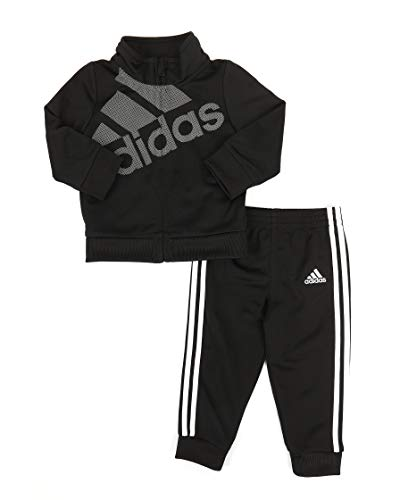 adidas Baby Girls' Tricot Zip Jacket and Pant Set (Black 001, 18 Month)