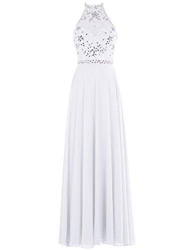 Chellen Sexy Dos Nu Une Longue Robes De Soirée De Bal De Perles En Mousseline De Soie De Ligne C028 Blanc
