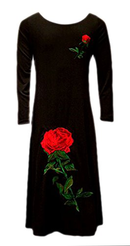 Girls Rose Flower Embroidered Long Maxi Dress Abaya for sale  Delivered anywhere in USA