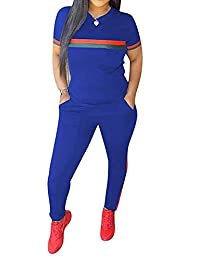 Top-Vigor 2 Pieces Women Sweatsuits Sets Short Sleeve Top and Long Bodycon Pants Tracksuits Sweatsuits for Women