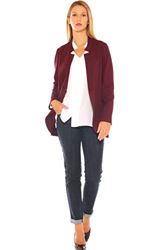 In A Stretch Jersey Donna Pesante Bordeaux Rever Collo Giacca UYq5Rwwx