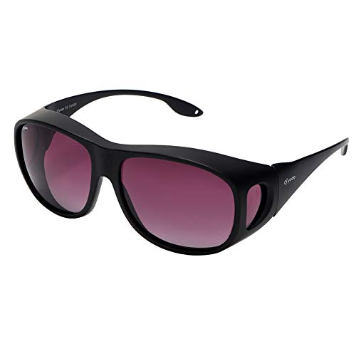 Yodo Fit Over Glasses Sunglasses with Polarized Lenses for Men and Women,Black Frame/Purple ()